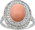 Estate Jewelry:Rings, Coral, Diamond, Platinum Ring. ...