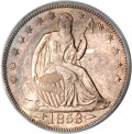 Seated Half Dollars, 1853 50C Arrows and Rays MS63 PCGS....