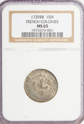 Colonials, 1739-BB Sou Marque French Colonies MS65 NGC. NGC Census: (0/0).PCGS Population (0/0). (#158...