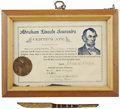 Political:Presidential Relics, Abraham Lincoln: Wood Pen from Lincoln's Springfield Home....