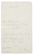 Autographs:U.S. Presidents, Jacqueline Kennedy: Autograph Note to Her sister, Lee Radziwill....