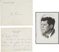 Autographs:U.S. Presidents, Jacqueline Kennedy: Autograph Note Signed and JFK Memorial Card.... (Total: 3 Items)