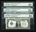 Small Size:Silver Certificates, Fancy Serial Number Fr. 1600 $1 1928 Silver Certificates. Three Consecutive Examples. PMG Choice Uncirculated 64 EPQ.. ...