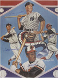 Baseball Collectibles:Others, Triple Crown Winner Signed Poster (Mantle, Williams, Robinson,Yaz). ...