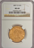 Liberty Eagles: , 1897-O $10 MS60 NGC. NGC Census: (38/141). PCGS Population(20/123). Mintage: 42,500. Numismedia Wsl. Price for NGC/PCGS co...