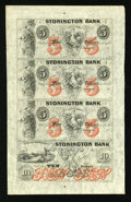 Obsoletes By State:Connecticut, Stonington, CT- The Stonington Bank $5-$5-$5-$10 G40b-G40b-G40b-G48b Uncut Sheet. ...