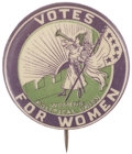 Political:Pinback Buttons (1896-present), Woman's Suffrage: The Clarion Pinback....