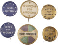 Political:Pinback Buttons (1896-present), Woman's Suffrage: Lot of Six Pinback Buttons.... (Total: 6 Items)