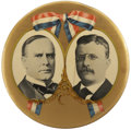 """Political:Pinback Buttons (1896-present), McKinley & Roosevelt: An Awesome, Mammoth 10"""" Jugate Button inIncredible Condition. ..."""