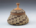 American Indian Art:Baskets, A WIYOT-KARUK POLYCHROME TWINED TRINKET BASKET. Elizabeth Hickox.c. 1916... (Total: 2 Items)