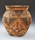 American Indian Art:Baskets, A YAVAPAI PICTORIAL COILED STORAGE JAR. c. 1910...