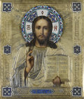 Decorative Arts, Continental, A RUSSIAN ICON OF CHRIST PANTOCRATOR. Moscow, 1892. Marks: Assaymark of Anatoli Apollonivich Artisibashev, Maker's mark D...