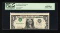 Error Notes:Inverted Third Printings, Fr. 1921-A $1 1995 Federal Reserve Note. PCGS Gem New 66PPQ....