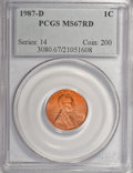 Lincoln Cents: , 1987-D 1C MS67 Red PCGS. PCGS Population (342/20). NGC Census:(201/28). Numismedia Wsl. Price for NGC/PCGS coin in MS67: ...