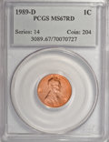 Lincoln Cents: , 1989-D 1C MS67 Red PCGS. PCGS Population (257/48). NGC Census:(82/11). Numismedia Wsl. Price for NGC/PCGS coin in MS67: $...