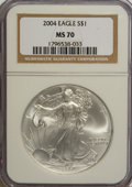 Modern Bullion Coins: , 2004 $1 Silver Eagle MS70 NGC. Numismedia Wsl. Price for NGC/PCGScoin in MS70: ...