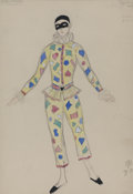 "Fine Art - Painting, Russian:Modern (1900-1949), MSTISLAV DOBUZHINSKY (Russian, 1875-1957). Costume Design for""Harlequinade"", 1934. Watercolor, gouache, and graphite on..."