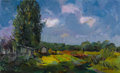 Paintings, MIKHAIL KONOV (Russian, b. 1928). Summer Dacha, 1972. Oil on cardboard. 19-1/2 x 31 inches (49.5 x 78.7 cm). Signed lowe...
