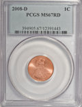 Lincoln Cents, 2008-D 1C MS67 Red PCGS. PCGS Population (165/4). Numismedia Wsl.Price for NGC/PCGS coin in MS67: $40....