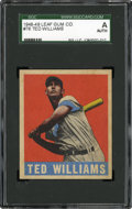 Baseball Cards:Singles (1940-1949), 1948-49 Leaf Ted Williams #76 SGC Authentic....