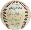 Autographs:Baseballs, 1984 U.S. Olympic Team Signed Baseball PSA NM 7. The Silver Medalwinners at the Los Angeles Games celebrate here on this of...