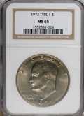 Eisenhower Dollars, 1972 $1 Type One MS65 NGC. NGC Census: (705/20). PCGS Population (306/14). Mintage: 75,890,000. Numismedia Wsl. Price for N...