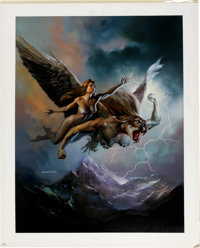 "Boris Vallejo - ""Ilmarinen, Goddess of the Storm"" Painting Original Art (1991)"