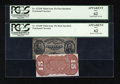 Fractional Currency:Third Issue, Fr. 1272SP/1274SP 15c Third Issue Narrow Margin Pair PCGS Apparent New 62.... (Total: 2 notes)