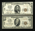 National Bank Notes:Kansas, Topeka, KS - $10 1929 Ty. 1 The Farmers NB Ch. # 10390 and $5 1929 Ty. 1 The Kaw Valley NB Ch. # 11398. ... (Total: 2 notes)