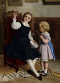 Fine Art - Painting, European:Antique  (Pre 1900), WILLIAM OLIVER (British, 1837-1927). Bubbles, 1869. Oil on canvas. 34-1/2 x 25 inches (87.6 x 63.5 cm). Signed and dated...