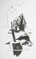 Original Comic Art:Sketches, Mike Mignola Hellboy Sketch Original Art (c. 2001)....