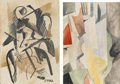Fine Art - Painting, Russian:Modern (1900-1949), PROPERTY FROM A PRIVATE COLLECTION. Attributed to LUIBOV POPOVA(Russian, 1889-1924). Pair of Cubist Studies. Watercol...(Total: 2 Items)