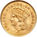 Three Dollar Gold Pieces, 1861 $3 MS67 NGC....