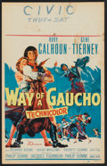 "Movie Posters:Adventure, Way of a Gaucho (20th Century Fox, 1952). Window Card (14"" X 22"").Adventure.. ..."