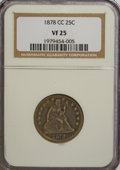 Seated Quarters: , 1878-CC 25C VF25 NGC. NGC Census: (2/206). PCGS Population (1/205).Mintage: 996,000. Numismedia Wsl. Price for NGC/PCGS co...