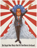 Memorabilia:Poster, Nixon He Kept Our Boys Out of Northern Ireland Poster(Pandora Productions, 1971)....