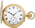 Timepieces:Pocket (post 1900), English High Grade Minute Repeating Gold Demi-Hunter, circa 1912....