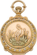 Timepieces:Pocket (pre 1900) , Elgin Gold Multicolor Box Hinge with Photo Frame, circa 1878. ...