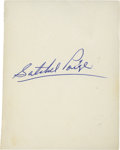 Autographs:Bats, Satchel Paige Signed Index Card....