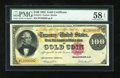 Large Size:Gold Certificates, Fr. 1214 $100 1882 Gold Certificate PMG Choice About Unc 58 EPQ....