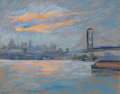 Fine Art - Work on Paper:Watercolor, ARTHUR CLIFTON GOODWIN (American, 1864-1929). View of theBrooklyn Bridge, 1936. Mixed media on paper. 15 x 15 inches(3...