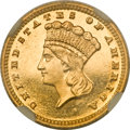 Proof Gold Dollars, 1887 G$1 PR66 Cameo NGC. CAC....