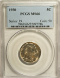Buffalo Nickels: , 1930 5C MS66 PCGS. PCGS Population (287/21). NGC Census: (80/4).Mintage: 22,849,000. Numismedia Wsl. Price for NGC/PCGS co...