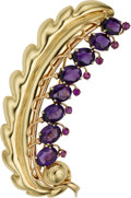 Estate Jewelry:Brooches - Pins, Amethyst, Ruby, Gold Brooch, circa 1940. ...