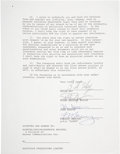 Music Memorabilia:Autographs and Signed Items, Queen Band-Signed Contract....