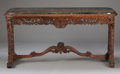 Furniture : Continental, A CONTINENTAL MAHOGANY CONSOLE. Late 19th-Early 20th Century. 30 x 61 x 22 inches (76.2 x 154.9 x 55.9 cm). ...