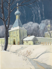 ALEXANDRE NIKOLAEVICH BENOIS (Russian/French, 1870-1960) Winter Scene Watercolor and graphite on pap