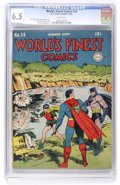 Golden Age (1938-1955):Superhero, World's Finest Comics #14 (DC, 1944) CGC FN+ 6.5 White pages. ...