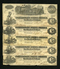 Confederate Notes:1862 Issues, T39 $100 1862 Five Examples.. ... (Total: 5 notes)