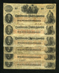 Confederate Notes:1862 Issues, T41 $100 1862 Six Examples.. ... (Total: 6 notes)